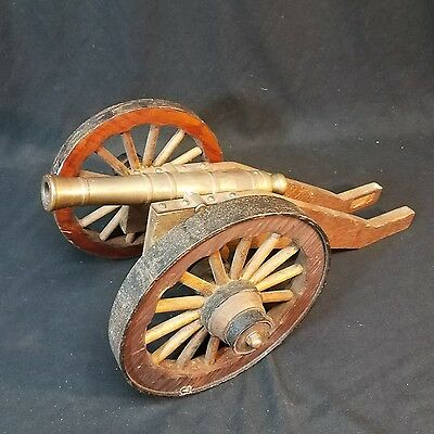 "Vintage Functional Brass Signal Cannon with Wooden Wheels 10"" Barrel 18"" Total"