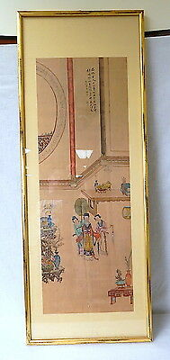 Fine Japanese signed silk hand painted painting tapestry vintage antique geisha