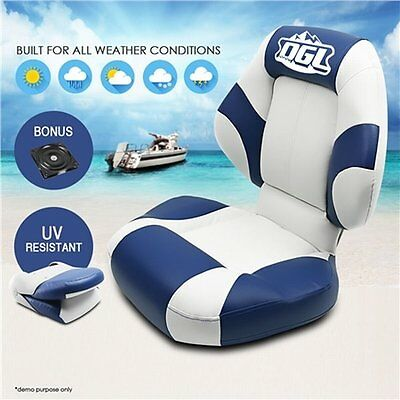 NEW Comfortable Swivel Base Marine Folding Premium Boat Seat - White Blue