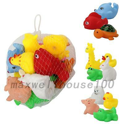 13pcs Animal Child Baby Kids Bath Toy Rubber Float Squeeze Sound Wash Bath Swim