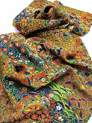 "JAPANESE KIMONO FABRIC 42""_Silk,Green,Blue,Flower,Butterfly,#e542-a"