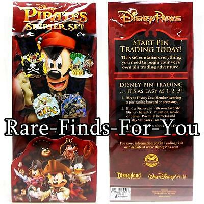 Disney Parks Pirates of the Caribbean Mickey Mouse Lanyard 4-Pin Booster Set NEW