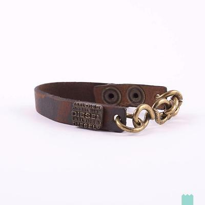 NEW DIESEL APAOLIS Genuine Leather Bracelet With Chain One Size Made in Italy