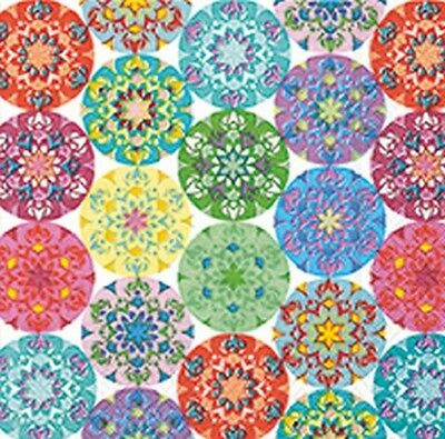 3 Paper Napkins for Decoupage / Tea Parties / Weddings - Multi Bright Circles