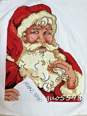 "New Finished Cross Stitch Needlepoint""CHRISTMAS SANTA CLAUS""Home Wall Decor Gift"