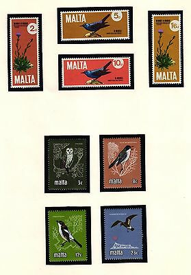 MALTA 1971-1981 BIRDS MNH Stamps Two Complete Sets of 8 Scott  432/5 & 580/3
