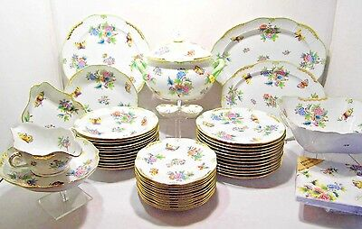 Herend Queen Victoria Dinner Set For Twelve,46 Pieces,mint Condition,like A New