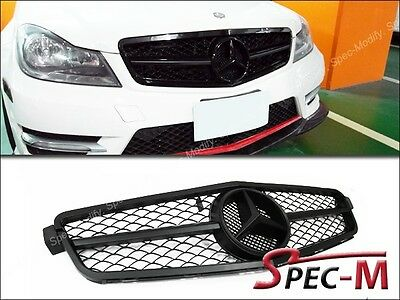 1 Fin Big Mesh Front Gloss Black Hood Grille Grill For C250 C350 Coupe 2012+