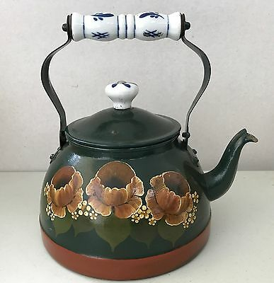 Vintage Green Red Country Kitchen Kettle with Blue & White Ceramic Handle & Knob
