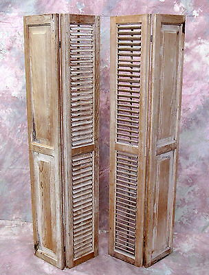 Antique Pair Hinged Window Stripped Tan Wood Louvered SHUTTERS Salvage Farmhouse