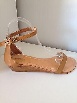 Leather Sandal Size 38 Tan With 3cm Wedge Heel