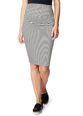 NEW - Esprit - Black Striped Over Bump Maternity Skirt