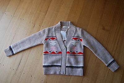 COUNTRY ROAD girls 100% wool zip front cardi size 8 NWT