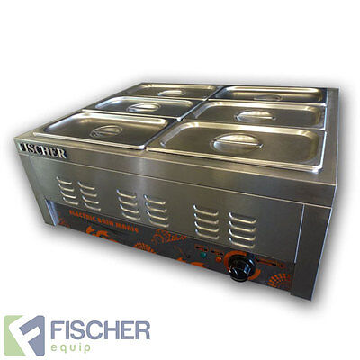 """brand New"" S/steel Hot Food Display Warmer Bain Marie 6X 1/3 Gn Trays -  Bsb-6T"