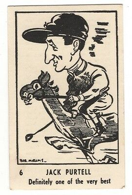 Rare 1950 Bob Mirams Sports Caricatures Trading Cards, Jack Purtell