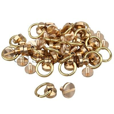 20pcs Plated Solid Brass O Ring Head Button Stud Screwback Belt Wallet Buckle