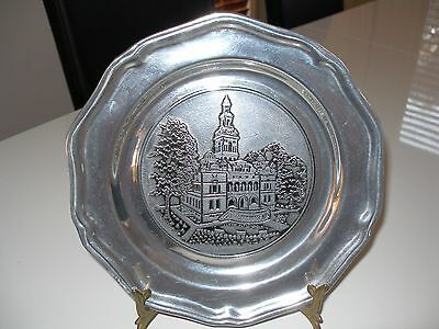 Vintage Old Wilton Armetale (Non-Toxic Pewter) Plate & Building Pattern U.s.a.