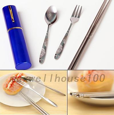 Stainless Steel Tableware Set Travel Collapsible Chopsticks Fork Spoon