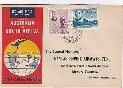 1952 Qantas Australia & SA First Air Service COVER - Mauritius to South Africa