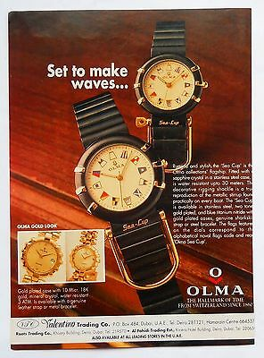 Vintage 2000 Ad print Olma Sea Cup Watch The Hallmark of time from Switzerland