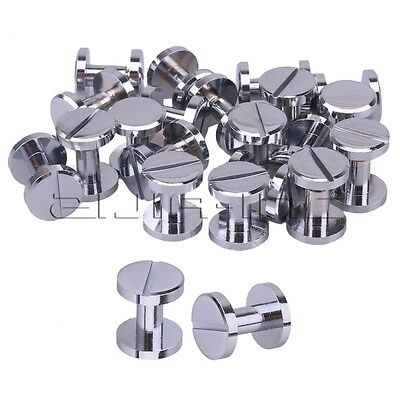 20pcs Silver Round Flat Head Button Studs Screwback Screws Nail For Leather Belt