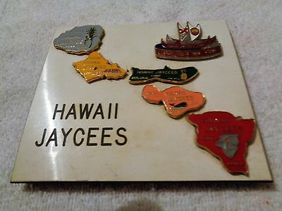 Hiwaii Jaycee trading pins mounted on a small plastic plaque