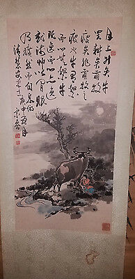 Old Chinese Painting Scroll Inkbrush Buffallo Calligraphy Paper Silk