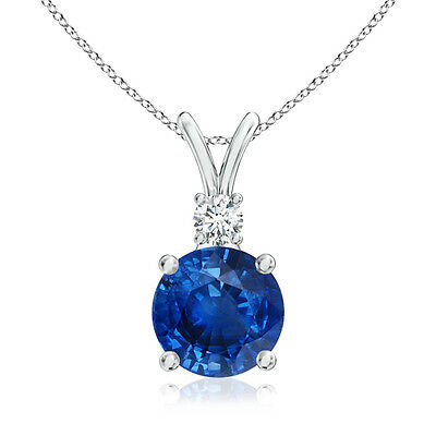 Natural Round Blue Sapphire & Diamond Solitaire Pendant Necklace 14K White Gold