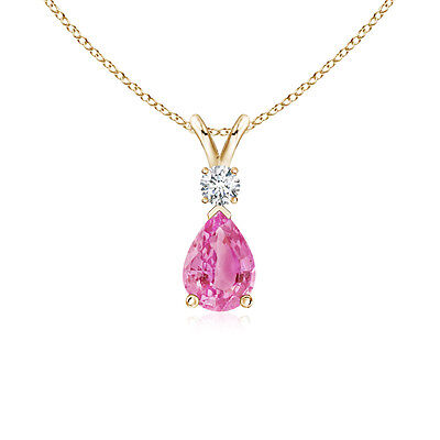 "Natural Pink Sapphire with Diamond Pendant Necklace 14K Yellow Gold 18"" Chain"