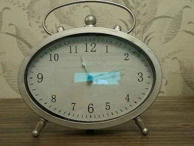 Silver Oval Mantel Clock With Handle (Brand New )