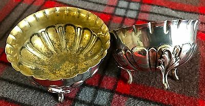 Pair of Antique Portugese 'Prata' Adriano Alves Solid Silver Salt Sellers Gilt