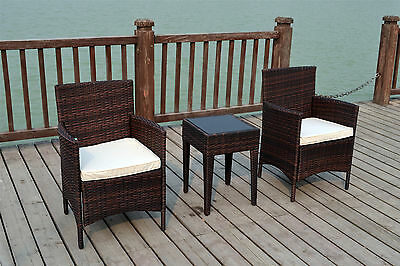 Bistro Garden Rattan Wicker Outdoor Conservatory Furniture Set Table Chairs 2Two
