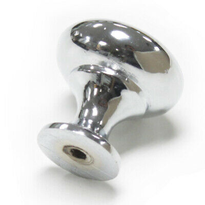 Round Cabinet Knobs Drawer Kitchen Cupboard Pull Handles Polished Chrome +Screws