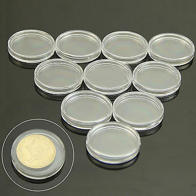 10Pcs Hot Coin Storage Boxes Capsules Holder 30mm Applied Clear Round Cases New