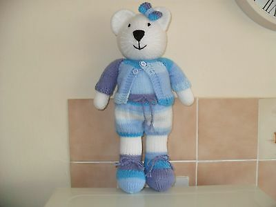 """Hand Knitted White Teddy Bear """"blue Multi Outfit"""""""