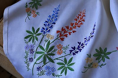 Vintage White Linen Tablecloth Hand Embroidered Cottage Garden Flowers Lupins