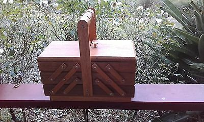 Vintage Three Tier Cantilever Wooden Sewing Box