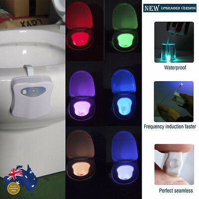 Toilet Bathroom 8 Colors LED Night Light Sensor Motion Activated Seat Body Lamp