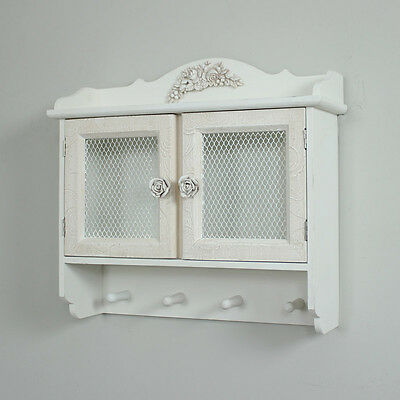 Rose Detailed White Wall Cabinet With Hooks