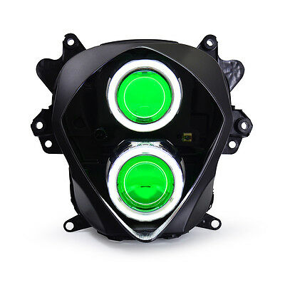 KT LED Angel Demon Eye Headlight Assembly For Suzuki GSXR1000 2007-2008 Green