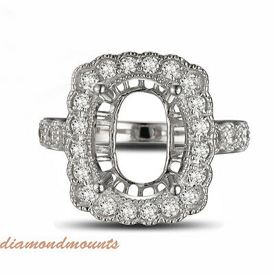 8x10MM Oval Cut Solid 18K White Gold Natural Diamond Semi Mount Ring Setting