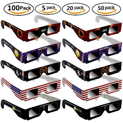 Solar Eclipse Glasses Paper Safe Solar Viewing Protect Eyes 5 10 20 50 100 Pack
