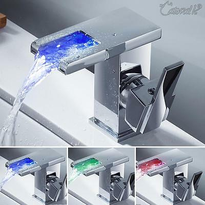 LED RGB Waterfall Bathroom Sink Mixer Tap Basin Faucet Brass Single Hole Chromed