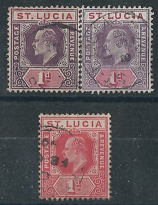p058) St. Lucia. 1904/10. Used. SG 66,66a,67. Multiple Crown CA. P14