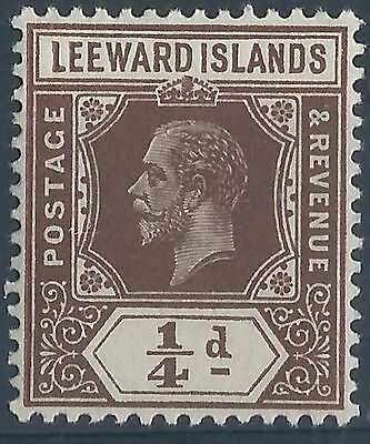 q186) Leeward Islands. 1921/322. Used. SG 58 1/4d Brown  Royalty.