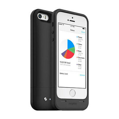New Mophie Space Pack Battery Charger Case 32Gb Storage For Iphone 5 5S - Black