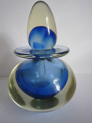 Large Heron art glass scent bottle, somerso blue and clear, great condition.