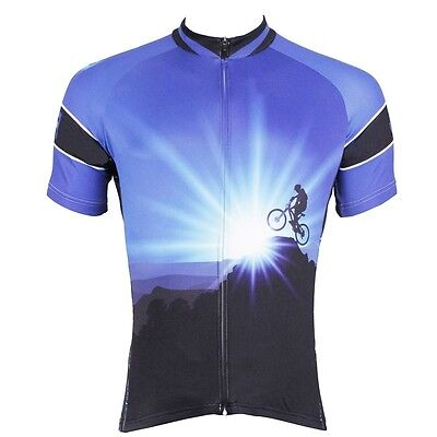 Conquer Cycling Jerseys Coolmax Team Mountain Bike Bicycle Jersey Top Blue S-3XL
