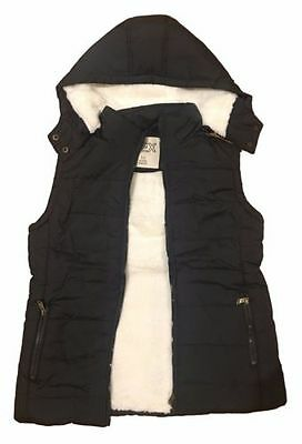 Womens Hooded Sherpa Fur Puffer Vest Jacket SIZE 12 Waistcoat Quilted Faux Fur