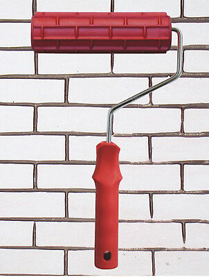 Brick Style Embossed Painting Roller 7 Inch Plastic Handle Wall Decor Red